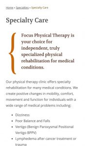 Focus Physical Therapy website responsive on cell phone