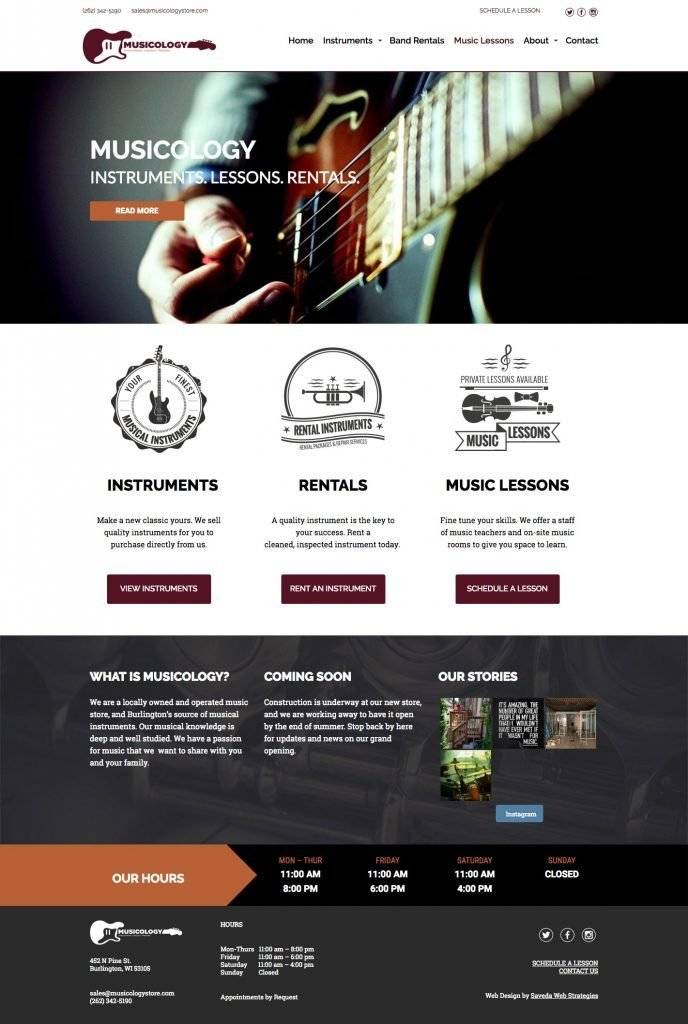 Musicology - local music store website design and development by Saveda Web Strategies