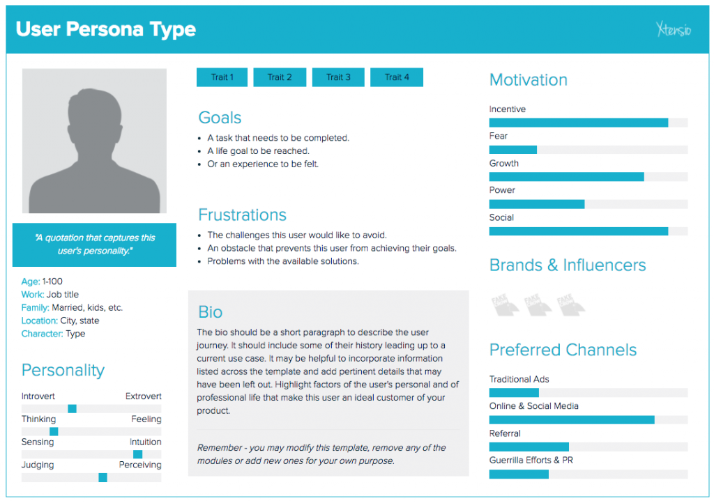 user persona template from Xtensio