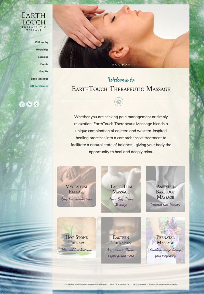 EarthTouch Massage home page